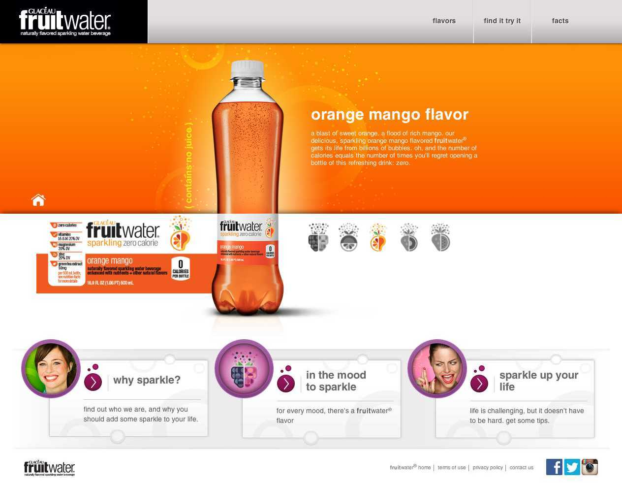 Fruitwater Orange Mango Flavor Page