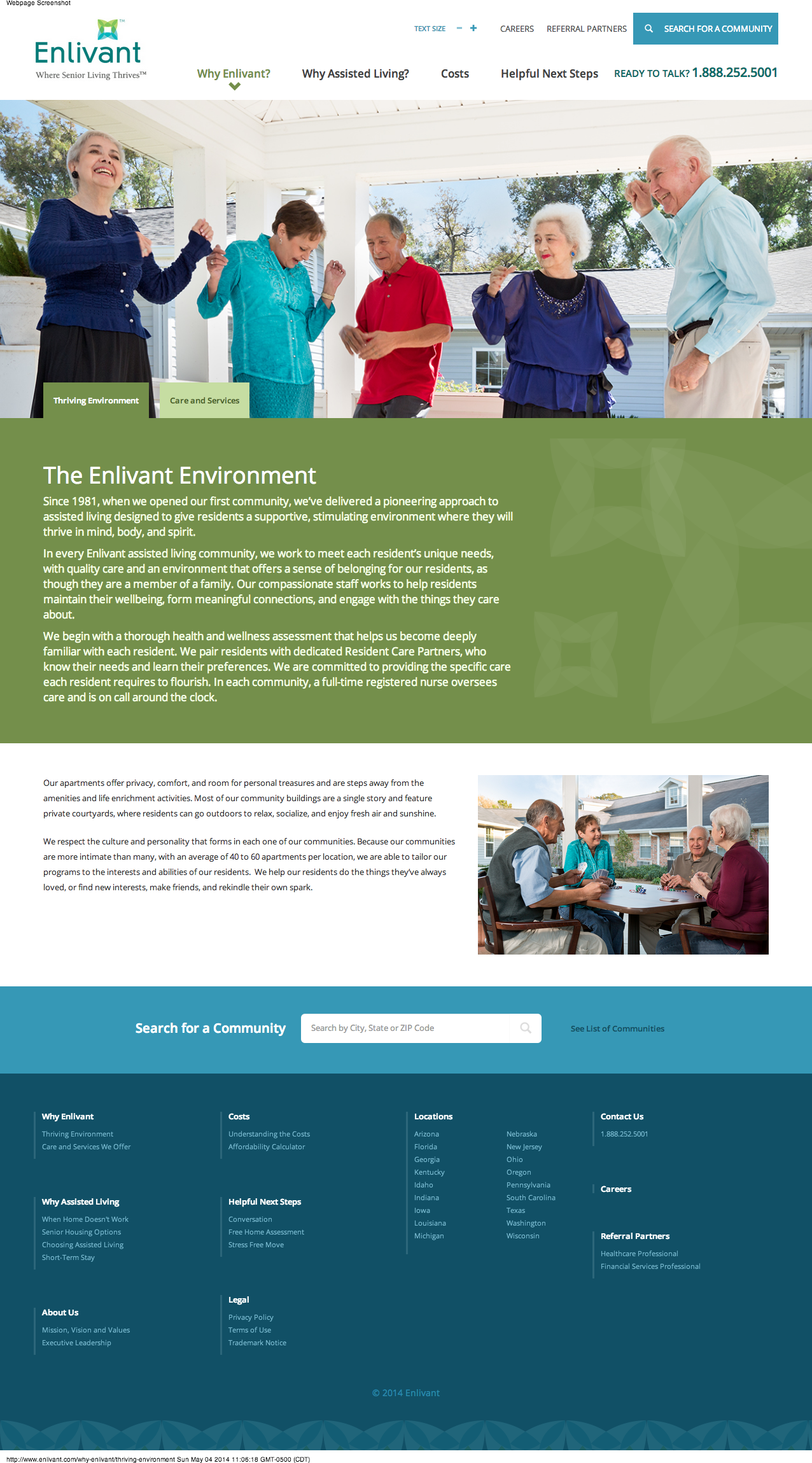 Enlivant Thriving Environment Page